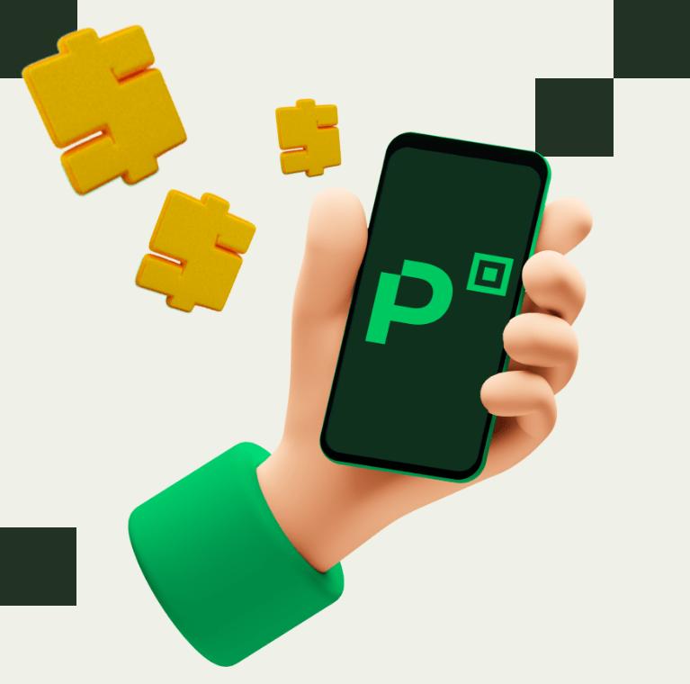 Desenho 3D de uma mão segurando o celular com o PicPay aberto