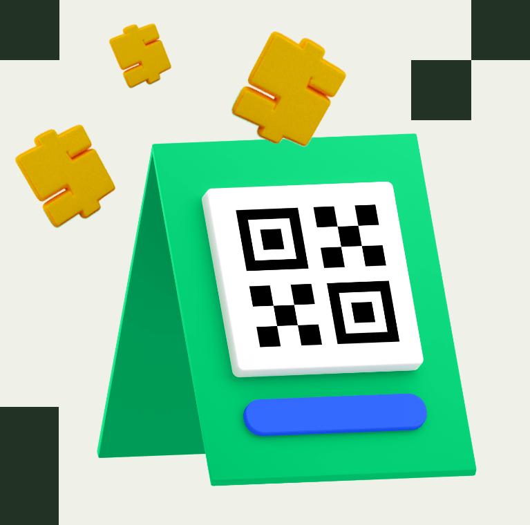 Imagem 3D de um QRCode e cifrões de dinheiro